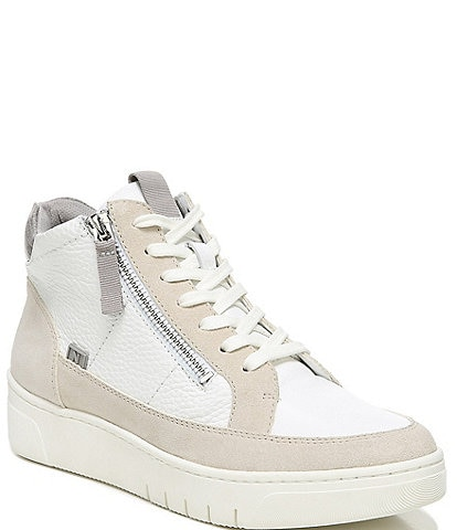 Naturalizer Hadley Hi Leather Lizard Print Accent Suede Lace-Up Sneakers