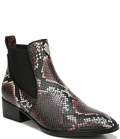 Naturalizer Hailey Snake Print Leather Block Heel Chelsea Booties