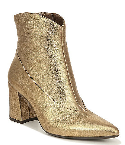 Naturalizer Hart Metallic Leather Block Heel Dress Booties