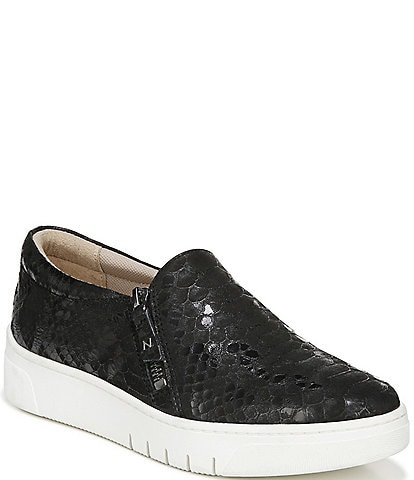 Naturalizer Hawthorn Snake Print Leather Zip Sneakers