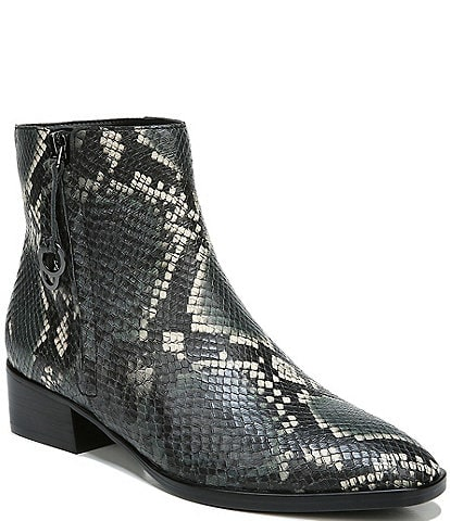 Naturalizer Henry Snake Print Leather Block Heel Booties