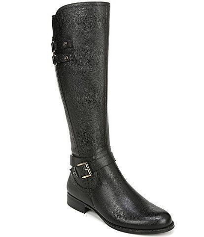 Naturalizer Jackie Wide Calf Tall Leather Block Heel Riding Boots