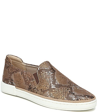 Naturalizer Jade Snake Print Leather Slip On Sneakers