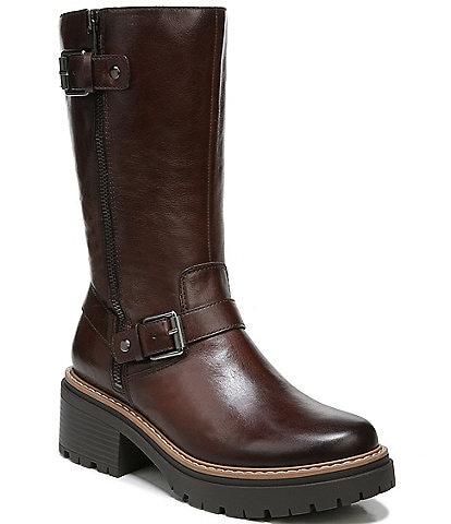 Naturalizer Jagger Buckle Detail Leather Lug Sole Boots