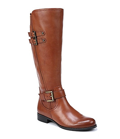 Naturalizer Jessie Wide Calf Buckle Detail Block Heel Riding Boots
