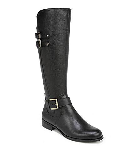 Naturalizer Jessie Wide Calf Buckle Detail Block Heel Riding Boots
