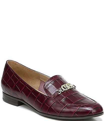 Naturalizer Jones Croc Embossed Leather Logo Hardware Detail Block Heel Loafers