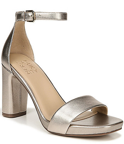 Naturalizer Joy Metallic Leather Block Heel Dress Sandals