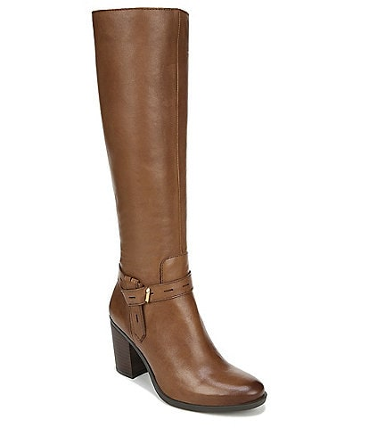 Naturalizer Kamora Leather Tall Stacked Block Heel Boots