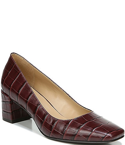 Naturalizer Karina Croc Embossed Leather Block Heel Pumps