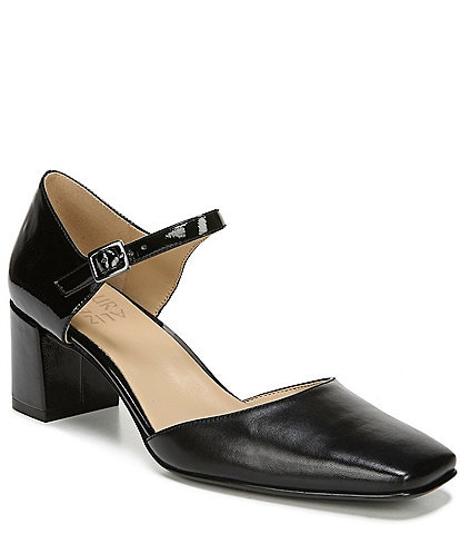 Naturalizer Kelise Leather & Patent Leather Ankle Strap Block Heel Pumps