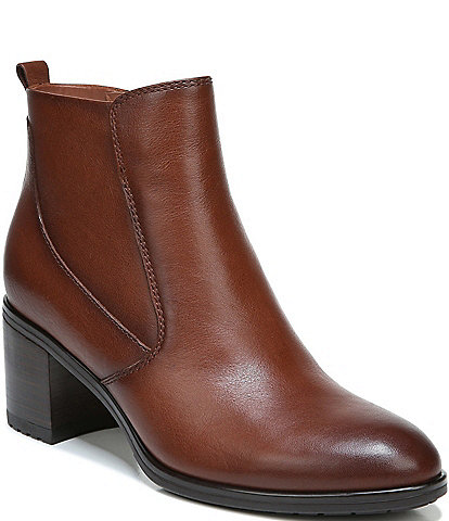 Naturalizer Laura Leather Block Heel Booties