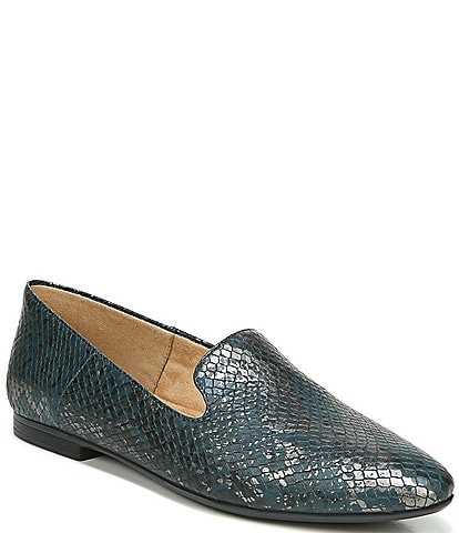 Naturalizer Lorna Collapsible Back Snake Print Leather Flat Loafers