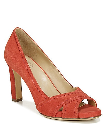 Naturalizer Odetta Suede Peep Toe Stiletto Heel Pumps