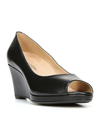 Naturalizer Olivia Leather Peep Toe Platform Wedge Pumps