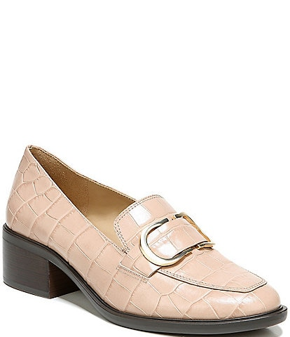 Naturalizer Pascal Croc Print Leather Loafers