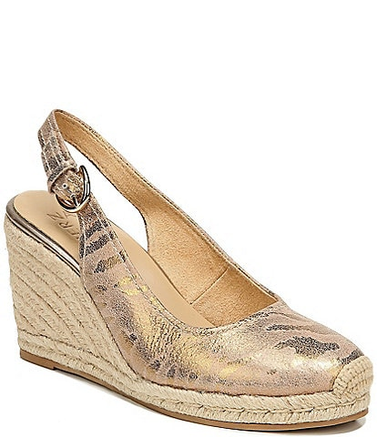Naturalizer Pearl Leopard Print Leather Slingback Wedge Espadrilles