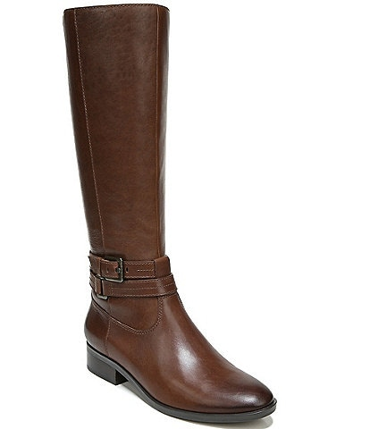 Naturalizer Reid Leather Tall Buckle Strap Detail Block Heel Boots