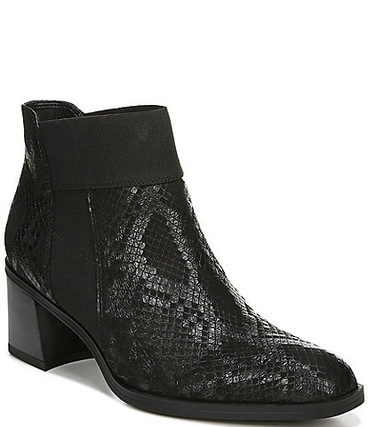 Naturalizer Story Snake Print Leather Block Heel Booties