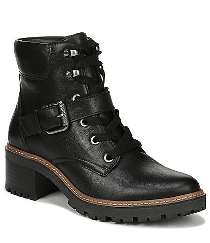 Naturalizer Tia Water Repellent Leather Block Heel Lug Sole Combat Boots