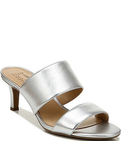 Naturalizer Tibby Metallic Leather Dress Slide Sandals