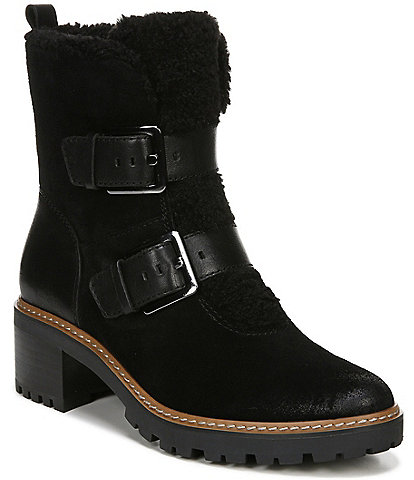 Naturalizer Tristan Suede Faux Fur Block Heel Moto Lug Sole Block Heel Booties