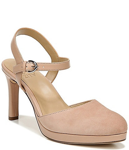 Naturalizer Tulip Leather and Suede Ankle Strap Pumps
