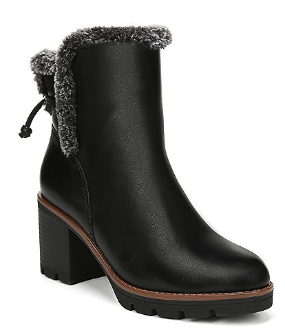 Naturalizer Valene Waterproof Leather Faux Fur Booties