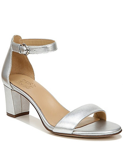 Naturalizer Vera Leather Ankle Strap Block Heel Dress Sandals