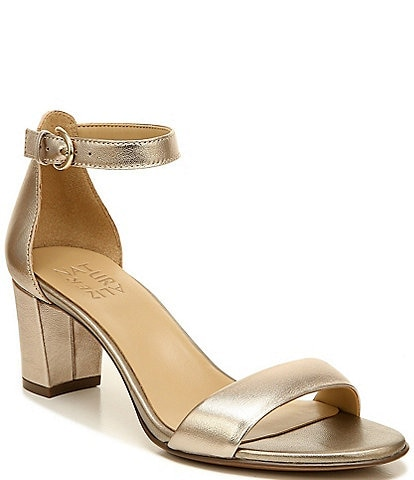 Naturalizer Vera Leather Block Heel Metallic Dress Sandals