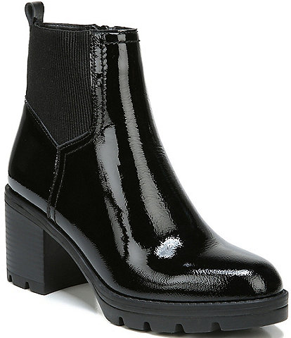 Naturalizer Verney 2 Patent Leather Block Heel Lug Sole Chelsea Booties
