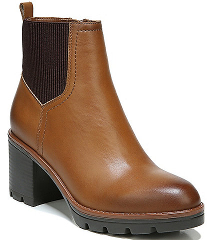 Naturalizer Verney Waterproof Leather Block Heel Chelsea Lug Sole Booties