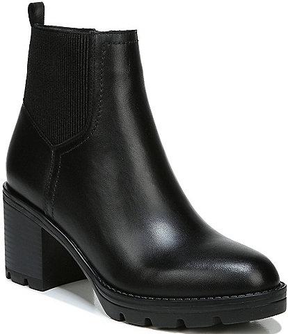 Naturalizer Verney Waterproof Leather Block Heel Lug Sole Booties