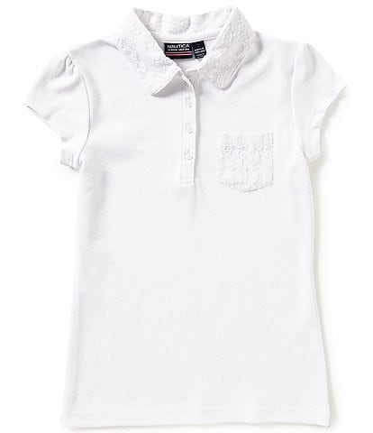 Nautica Big Girls 7-16 Short Sleeve Lace Detail Polo