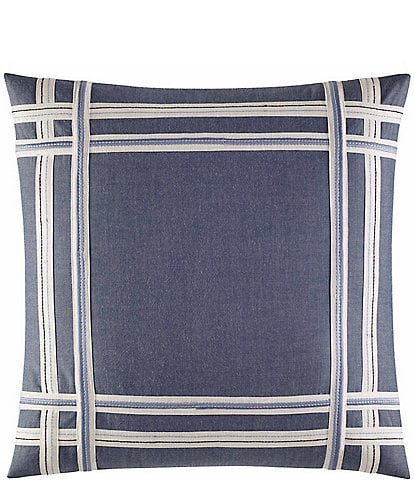 Nautica Fairwater Embroidered Chambray Square Pillow
