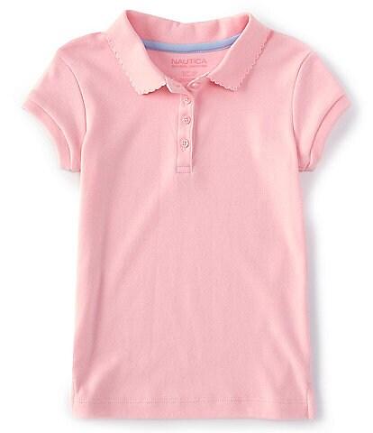 Nautica Little Girls 4-6X Short Sleeve Picot Trim Polo