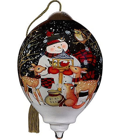 Ne' Qwa Art 2020 Forest Friend Snowman Hand Painted Glass Finial Ornament