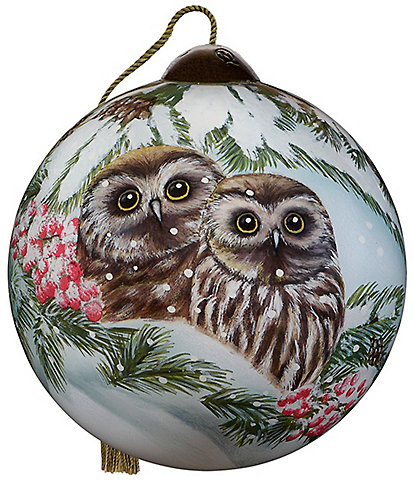Ne' Qwa Art 2020 Owl You Need Is Love Hand Painted Glass Ball Ornament