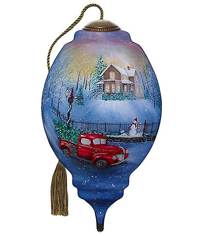 Ne' Qwa Art 2020 Snowy Drive Home Hand Painted Glass Finial Ornament