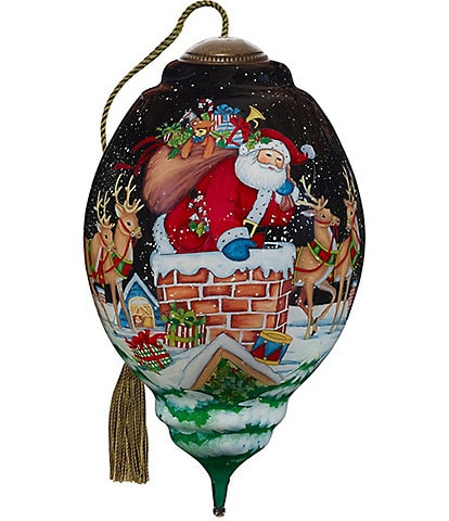 Ne' Qwa Art 2020 Up On The Housetop Hand Painted Glass Finial Ornament
