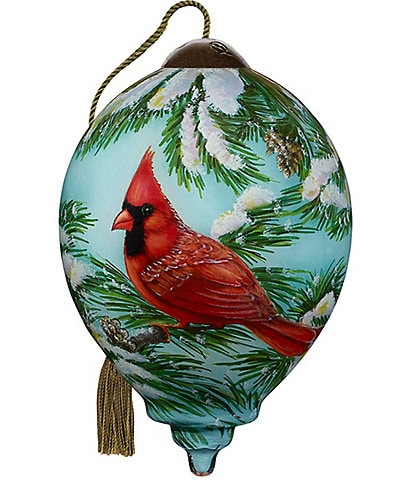 Ne' Qwa Art 2020 Winter Cardinal Hand Painted Glass Finial Ornament
