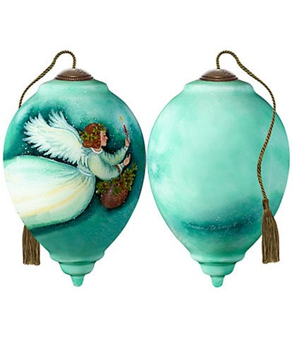 Ne' Qwa Art Angel With Holly Hand Painted Glass Finial Ornament