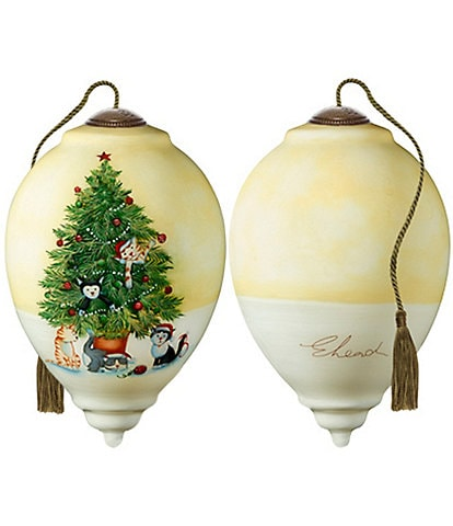 Ne' Qwa Art Christmas Tree Cats Hand Painted Glass Finial Ornament