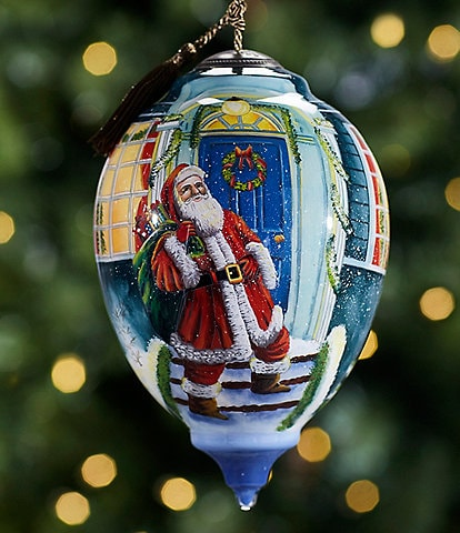 Ne' Qwa Art Limited Edition 2021 Santa's Welcomed Arrival Hand Painted Glass Finial Ornament