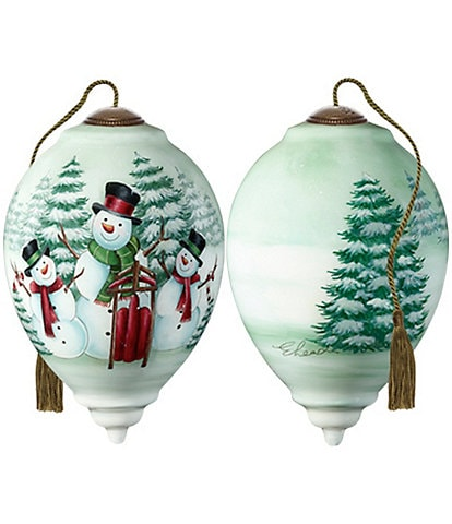 Ne' Qwa Art Merry Snowmen Hand Painted Glass Finial Ornament