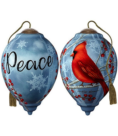 Ne' Qwa Art Peace Cardinal Hand Painted Glass Finial Ornament