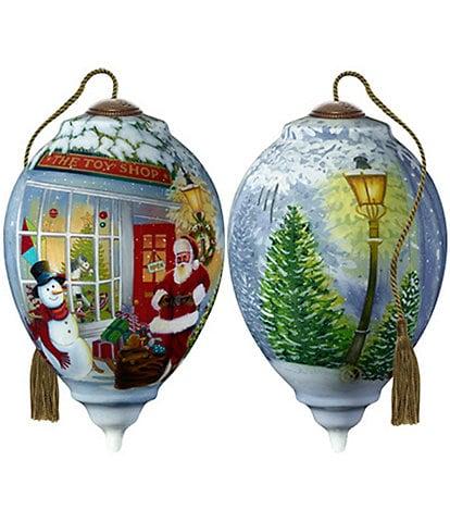 Ne' Qwa Art Santa's Toy Shop Hand Painted Glass Finial Ornament