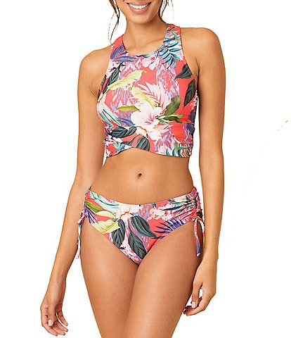 Next by Athena Tropical Print High Neck Swim Top & Mid Rise Cinch Side Hipster Swim Bottom