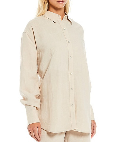 NIA Oversized Linen Button Front Coordinating Top
