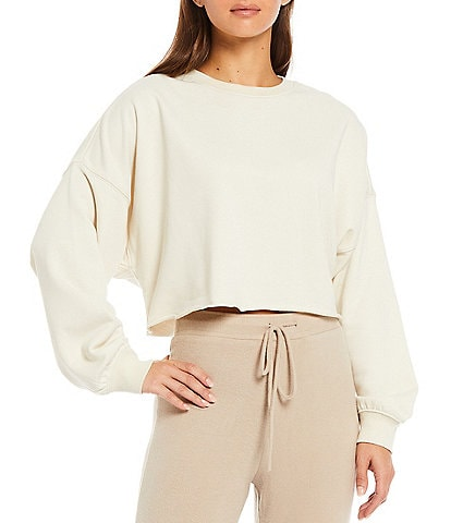 NIA Pandora Long Sleeve French Terry Crew Neck Coordinating Cropped Pullover
